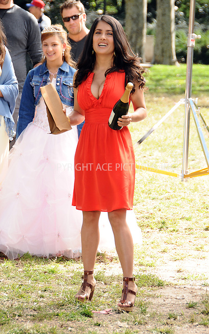 WWW.ACEPIXS.COM . . . . .  ....October 10 2008, New York City....Actress Salma Hayek shot a scene for the TV show '30 Rock' in Central Park on October 10 2208 in New York City....Please byline: AJ Sokalner - ACEPIXS.COM..... *** ***..Ace Pictures, Inc:  ..te: (646) 769 0430..e-mail: info@acepixs.com..web: http://www.acepixs.com