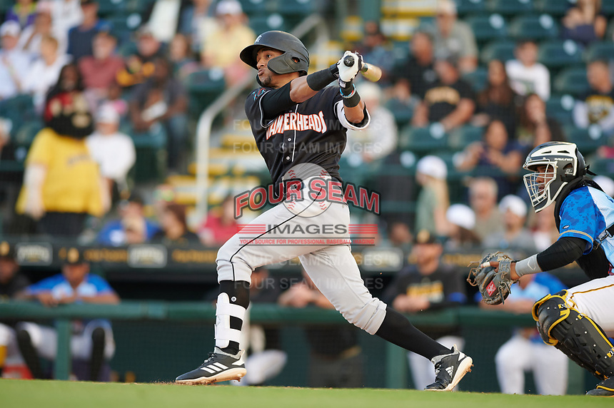 Jupiter Hammerheads Victor Victor Mesa (32) bats during a Florida State League game against the Bradenton Marauders on April 20, 2019 at LECOM Park in Bradenton, Florida.  Bradenton defeated Jupiter 3-2.  (Mike Janes/Four Seam Images)