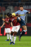 Andrea Petagna and Frank Kessie compete for the ball  during the Serie A 2018/2019 football match between AC Milan and SPAL at stadio Giuseppe Meazza in San Siro, Milano, December 29, 2018 <br /> Foto Image Sport / Insidefoto