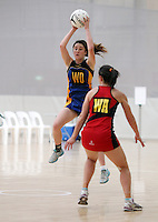 05.10.2012 Eastern's Kataraina Rowe in action during the netball match between Tasman and Eastern at the Lion Foundation Netball Champs in Tauranga. Mandatory Photo Credit ©Michael Bradley.