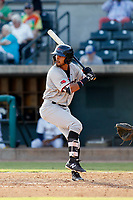 Hickory Crawdads outfielder Miguel Aparicio (36) at bat during a game against the Charleston Riverdogs at the Joseph P. Riley Ballpark in Charleston, South Carolina.  Hickory defeated Charleston 8-7. (Robert Gurganus/Four Seam Images)