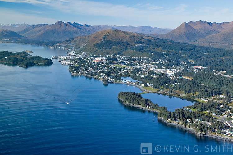 Aerial view Chiniak Bay and the city of Kodiak, looking southwest, fall, Kodiak Alaska, USA.