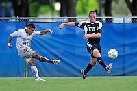 10 September 2011:  FIU's Joseph Dawkins (4) attempts to intercept a pass in the first half as the FIU Golden Panthers defeated the Stetson University Hatters, 3-2 in the second overtime period, at University Park Stadium in Miami, Florida.