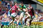 Jack Barry Kerry in action against David Walsh and Michael Daly Galway in the All Ireland Senior Football Quarter Final at Croke Park on Sunday.