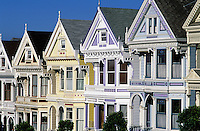 USA, California, San Francisco. Row of Victorian homes..