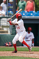 Auburn Doubledays right fielder Randy Encarnacion (25) at bat during the first game of a doubleheader against the Mahoning Valley Scrappers on July 2, 2017 at Falcon Park in Auburn, New York.  Mahoning Valley defeated Auburn 3-0.  (Mike Janes/Four Seam Images)