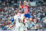 Real Madrid Toni Kroos and Atletico de Madrid Saul Niguez and Jose Maria Gimenez during La Liga match between Real Madrid and Atletico de Madrid at Santiago Bernabeu Stadium in Madrid, Spain. September 29, 2018. (ALTERPHOTOS/Borja B.Hojas)