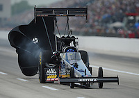 Apr. 29, 2012; Baytown, TX, USA: NHRA top fuel dragster driver David Grubnic during the Spring Nationals at Royal Purple Raceway. Mandatory Credit: Mark J. Rebilas-