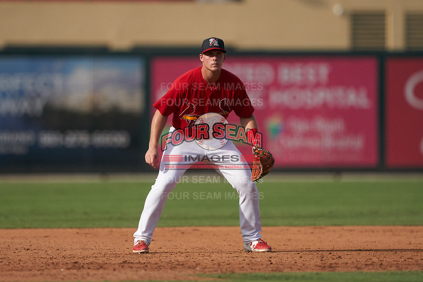 Palm Beach Cardinals third baseman Nolan Gorman (18) during a Florida State League game against the Clearwater Threshers on August 9, 2019 at Roger Dean Chevrolet Stadium in Jupiter, Florida.  Clearwater defeated Palm Beach 5-3 in the first game of a doubleheader.  (Mike Janes/Four Seam Images)