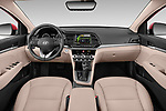 Stock photo of straight dashboard view of 2020 Hyundai Elantra Limited 4 Door Sedan Dashboard