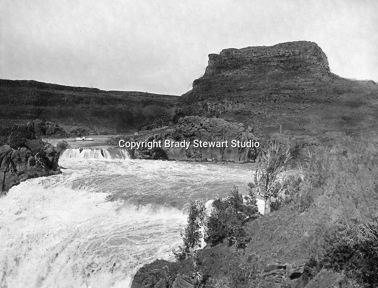 Twin Falls ID:  On the brink of the Shoshone Falls - 1910.  Brady Stewart and three friends went to Idaho on a lark from 1909 thru early 1912. As part of the Mondell Homestead Act, they received a land grant of 160 acres north of the Snake River.  For 2 ½  years, Brady Stewart photographed the adventures of farming along with the spectacular landscapes.
