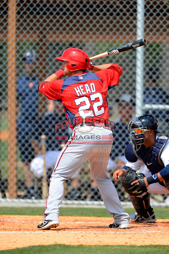 Washington Nationals outfielder Jerad Head #22 during a minor league Spring Training game against the Detroit Tigers at Tiger Town on March 22, 2013 in Lakeland, Florida.  (Mike Janes/Four Seam Images)