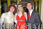 At the Colaiste na Sceilge Debs Ball in The Ring of Kerry Hotel, Cahersiveen on Thursday night last were l-r; Colman Quirke Jnr., Martina Palmer & Jason O'Sullivan.