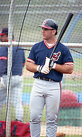 Cleveland Indians catcher Jesse Levis (12) during Spring Training 1993 at Chain of Lakes Park in Winter Haven, Florida.  (MJA/Four Seam Images)