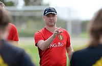 20180301 - LARNACA , CYPRUS :  Belgian head coach Ives Serneels pictured during a Matchday -1 training from The Belgian Red Flames prior to their game against Spain , on Thursday 1 March 2018 at the Alpha Sports Grounds in Larnaca , Cyprus . This will be the second game in group B for Belgium during the Cyprus Womens Cup , a prestigious women soccer tournament as a preparation on the World Cup 2019 qualification duels. PHOTO SPORTPIX.BE | DAVID CATRY