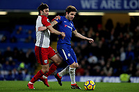 Cesc Fabregas of Chelsea shields the ball from West Brom's Claudio Jacob during Chelsea vs West Bromwich Albion, Premier League Football at Stamford Bridge on 12th February 2018