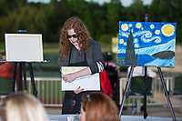 "The Kannapolis Intimidators held a ""Wine and Canvas"" night at Kannapolis Intimidators Stadium during the South Atlantic League game against the Augusta GreenJackets on May 3, 2017 in Kannapolis, North Carolina.  (Brian Westerholt/Four Seam Images)"