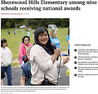 Principal Anu Ebbe announces the opening of the new playground at Shorewood Hills Elementary School on Friday, September 8, 2017 | Wisconsin State Journal article online 9/26/17 at http://host.madison.com/wsj/news/local/education/local_schools/shorewood-hills-elementary-among-nine-schools-receiving-national-awards/article_1698e366-7aa6-5b9d-b3b8-f800855e1f9f.html