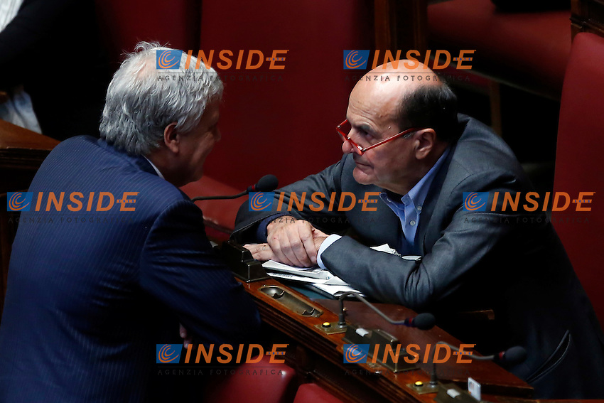 Gian Luca Galletti e Pier Luigi Bersani<br /> Roma 28-04-2015 Camera. Voto sulle pregiudiziali di costituzionalit&agrave;' sulla riforma elettorale, Italicum.<br /> Chamber of Deputies. Votation about electoral reform.<br /> Photo Samantha Zucchi Insidefoto