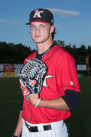 Kannapolis Intimidators pitcher Spencer Adams (12) poses for a photo prior to the game against the Lexington Legends at CMC-Northeast Stadium on May 26, 2015 in Kannapolis, North Carolina.  The Intimidators defeated the Legends 4-1.  (Brian Westerholt/Four Seam Images)