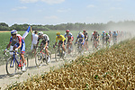 The lead group including race leader Yellow Jersey Greg Van Avermaet (BEL) BMC Racing Team in action on the cobbles during Stage 9 of the 2018 Tour de France running 156.5km from Arras Citadelle to Roubaix, France. 15th July 2018. <br /> Picture: ASO/Alex Broadway | Cyclefile<br /> All photos usage must carry mandatory copyright credit (&copy; Cyclefile | ASO/Alex Broadway)