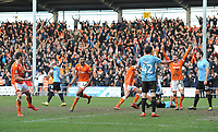 (L-R) Blackpool's Matthew Virtue, Curtis Tilt, Ben Heneghan and Chris Long celebrates their side's equalising goal to make the score 2-2<br /> <br /> Photographer Kevin Barnes/CameraSport<br /> <br /> The EFL Sky Bet League One - Blackpool v Southend United - Saturday 9th March 2019 - Bloomfield Road - Blackpool<br /> <br /> World Copyright © 2019 CameraSport. All rights reserved. 43 Linden Ave. Countesthorpe. Leicester. England. LE8 5PG - Tel: +44 (0) 116 277 4147 - admin@camerasport.com - www.camerasport.com