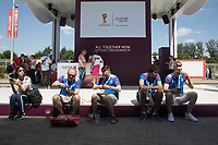 MOSCOW, RUSSIA - June 16, 2018: Fans eat some food outside Spartak stadium before the Iceland vs. Argentina game at the 2018 FIFA World Cup.