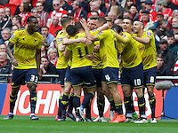 Oxford United players celebrate their goal during the Johnstone's Paint Trophy Final match between Oxford United and Barnsley at Wembley Stadium, London, England on 3 April 2016. Photo by Alan  Stanford / PRiME Media Images.