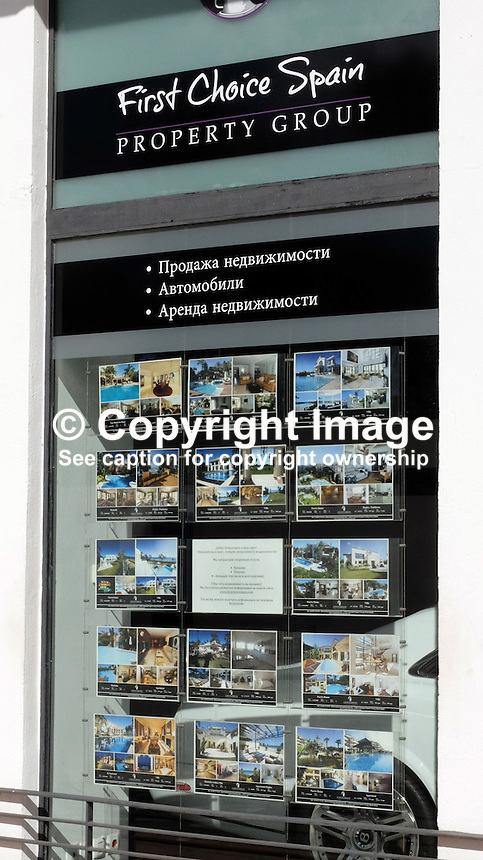Signage in Russian on the Costa del Sol, Spain, shows its popularity with Russian ex-pats &amp; tourists. Estate agency, Puerto Banus, February, 2015, 201502060408<br /> <br /> Copyright Image from Victor Patterson, 54 Dorchester Park, Belfast, UK, BT9 6RJ<br /> <br /> t: +44 28 9066 1296<br /> m: +44 7802 353836<br /> vm +44 20 8816 7153<br /> <br /> e1: victorpatterson@me.com<br /> e2: victorpatterson@gmail.com<br /> <br /> www.victorpatterson.com<br /> <br /> IMPORTANT: Please see my Terms and Conditions of Use at www.victorpatterson.com