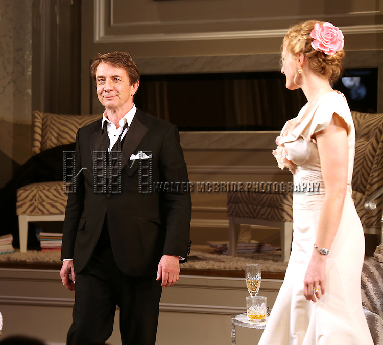 Martin Short and Katie Finneran during the re-opening night Curtain Call for 'It's Only A Play' at the Bernard B. Jacobs Theatre on January 23, 2014 in New York City.