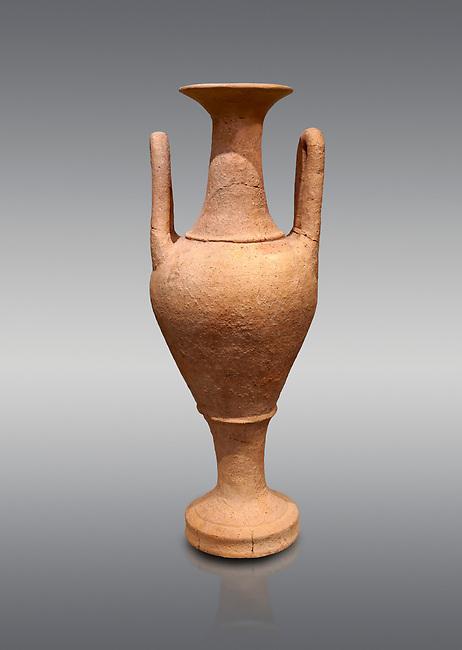 Minoan  amphora imitating Egyptian prototypes, Hagia Triada Royal Villa 1500-1540 BC; Heraklion Archaeological  Museum, grey background.