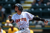 Jupiter Hammerheads outfielder Yefri Perez (12) at bat during a game against the Bradenton Marauders on April 19, 2015 at McKechnie Field in Bradenton, Florida.  Jupiter defeated Bradenton 7-2.  (Mike Janes/Four Seam Images)