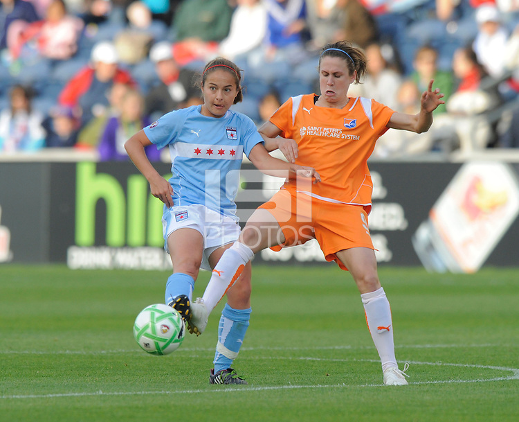 #6 Brittany Klein of the Chicago Red Stars and # 9 Heather O' Reilly  Sky Blue FC fight for control of the ball.  Sky Blue FC beat the Red Star 2-0.
