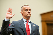 """Former Trump campaign manager Corey Lewandowski is sworn-in to give testimony before the United States House Committee on the Judiciary as it conducts a hearing titled """"Presidential Obstruction of Justice and Abuse of Power"""" on Capitol Hill in Washington, DC on Tuesday, September 17, 2019.<br /> Credit: Ron Sachs / CNP<br /> (RESTRICTION: NO New York or New Jersey Newspapers or newspapers within a 75 mile radius of New York City)"""