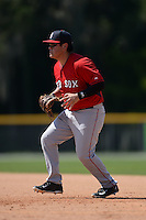 Boston Red Sox Cisco Tellez (38) during a minor league spring training game against the Baltimore Orioles on March 18, 2015 at Buck O'Neil Complex in Sarasota, Florida.  (Mike Janes/Four Seam Images)