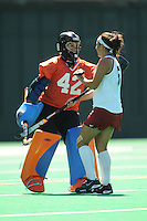 Stanford, CA - SEPTEMBER 27:  Goalkeeper Alessandra Moss #42 and defender Nora Soza #5 of the Stanford Cardinal during Stanford's 7-0 win against the Pacific Tigers on September 27, 2008 at the Varsity Field Hockey Turf in Stanford, California.