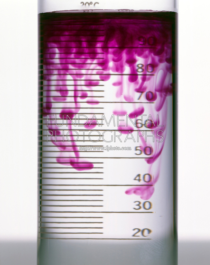 SALT FINGERS: POTASSIUM PERMANGANATE IN WATER<br /> (Variations Available)<br /> Diffusion Of KMnO4<br /> The difference in the densities of the upper layer of KMnO4 (aq) and of the water results in the thin streak and blob pattern of diffusion of the KMnO4.