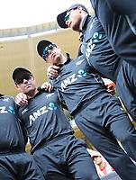 Blackcaps Henry Nicholls, Mitchell Santner & Martin Guptill during the third ODI cricket match between the Blackcaps & England at Westpac stadium, Wellington. 3rd March 2018. © Copyright Photo: Grant Down / www.photosport.nz