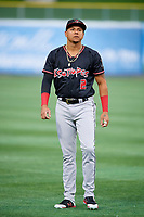 Yonathan Daza (2) of the Albuquerque Isotopes before the game against the Salt Lake Bees at Smith's Ballpark on April 24, 2019 in Salt Lake City, Utah. The Isotopes defeated the Bees 5-4. (Stephen Smith/Four Seam Images)