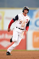 Salem Red Sox outfielder Jonathan Roof (3) runs the bases during a game against the Lynchburg Hillcats on April 25, 2014 at Lewisgale Field in Salem, Virginia.  Salem defeated Lynchburg 10-0.  (Mike Janes/Four Seam Images)