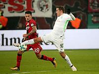 06.02.2018, Bay - Arena, Leverkusen, GER, DFB-Pokal, Bayer 04 Leverkusen vs Werder Bremen<br /> , <br />Max Kruse (Bremen), Charles Aranguiz (Leverkusen) *** Local Caption *** © pixathlon<br /> Contact: +49-40-22 63 02 60 , info@pixathlon.de