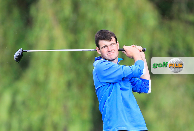Jake Whelan (Newlands) on the 15th tee during Round 1 of the Ulster Youths Championship at Belvoir Golf Club on Tuesday 4th August 2015.<br /> Picture:  Thos Caffrey / www.golffile.ie