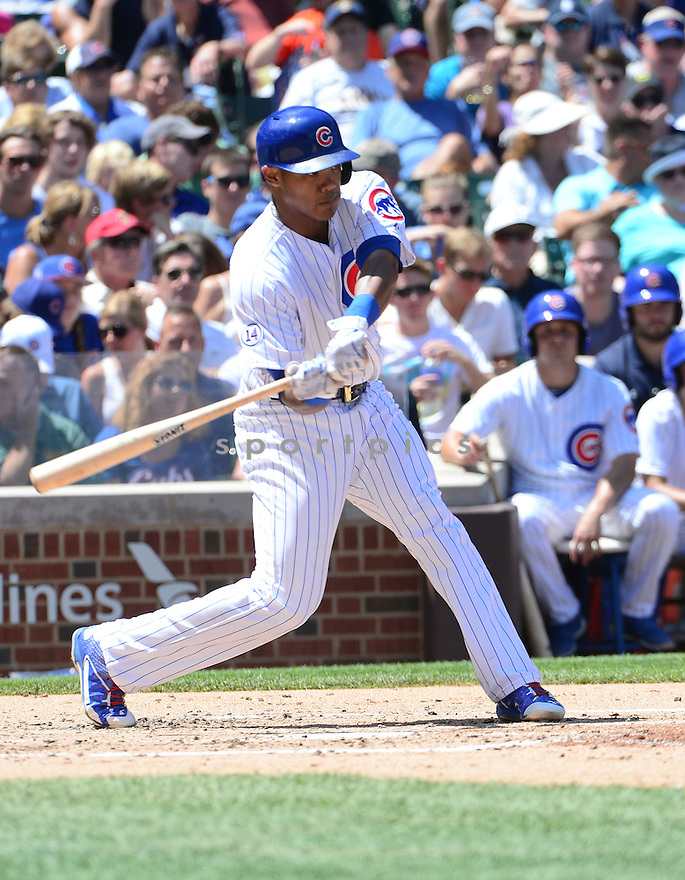Chicago Cubs Addison Russell (22) during a game against the Colorado Rockies on July 29, 2015 at Wrigley Field in Chicago, IL. The Cubs beat the Rockies 3-2.