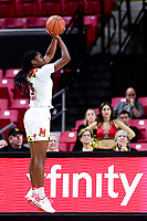 College Park, MD - NOV 29, 2017: Maryland Terrapins guard Kaila Charles (5) connects from downtown during ACC/Big Ten Challenge game between Gerogia Tech and the No. 7 ranked Maryland Terrapins. Maryland defeated The Yellow Jackets 67-54 at the XFINITY Center in College Park, MD.  (Photo by Phil Peters/Media Images International)
