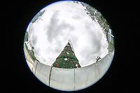 SÃO PAULO, SP, 25.11.2015 - ARVORE-IBIRAPUERA - Operarios colocam a estrela na ponta da tradicional árvore de Natal em frente ao Parque do Ibirapuera, na zona sul de São Paulo. A estrutura tem 35 metros de altura e 15 metros de diâmetro e uma estrela de 4 metros. (Foto: William Volcov/Brazil Photo Press)