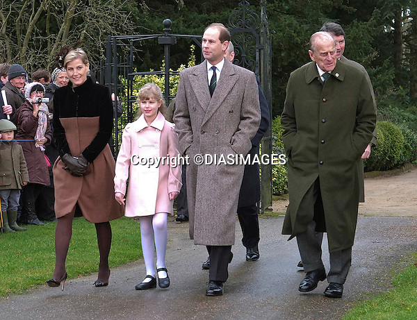 "ROYALS ATTEND CHRISTMAS DAY SERVICE.Members of the royal family attend Christmas Day Church Service at St. Mary Magdalene's on the Sandringham Estate.They included The Queen, Prince Philip, Prince Charles, Camilla, Duchess of Cornwall, Princess Anne, Prince Edward, Sophie, Countess of Wessex, Lady Louise, Prince Andrew, Zara Phillips, Mike Tindall, Peter Phillips and Autumn Kelly_25/12/2012.Kate and Prince William broke with tradition and did not attend..Picture Shows: Sophie, Lady Louise, Prince Edward and Prince Philip.Mandatory credit photo:©DiasImages..(Failure to credit will incur a surcharge of 100% of reproduction fees)..**ALL FEES PAYABLE TO: ""NEWSPIX  INTERNATIONAL""**..Newspix International, 31 Chinnery Hill, Bishop's Stortford, ENGLAND CM23 3PS.Tel:+441279 324672.Fax: +441279656877.Mobile:  07775681153.e-mail: info@newspixinternational.co.uk"