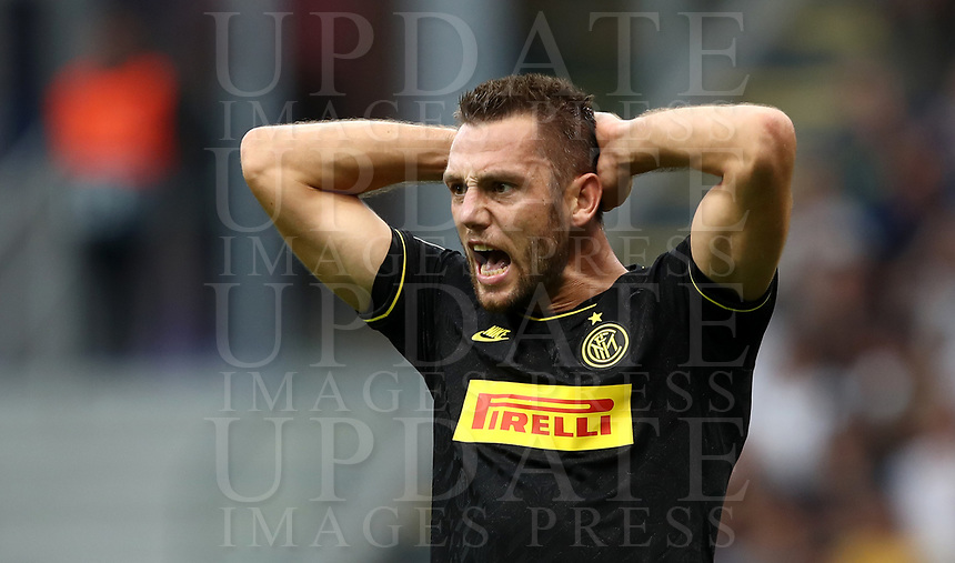 Football Soccer: UEFA Champions League -Group Stage- Group F Internazionale Milano vs  SK Slavia Praha, Giuseppe Meazza stadium, September 17, 2019.<br /> Inter's Stefan de Vrij reacts during the Uefa Champions League football match between Internazionale Milano and Slavia Praha at Giuseppe Meazza (San Siro) stadium, September 17, 2019.<br /> UPDATE IMAGES PRESS/Isabella Bonotto