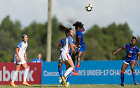 Bradenton, FL - Sunday, June 10, 2018: Michela Agresti, Angeline Gustave during a U-17 Women's Championship match between the United States and Haiti at IMG Academy.  USA defeated Haiti 3-2 to advance to the finals.