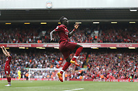 Liverpool's Sadio Mane celebrates scoring his side's second goal <br /> <br /> Photographer Rob Newell/CameraSport<br /> <br /> The Premier League - Liverpool v West Ham United - Sunday August 12th 2018 - Anfield - Liverpool<br /> <br /> World Copyright &copy; 2018 CameraSport. All rights reserved. 43 Linden Ave. Countesthorpe. Leicester. England. LE8 5PG - Tel: +44 (0) 116 277 4147 - admin@camerasport.com - www.camerasport.com