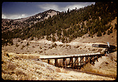 Excursion train about to cross trestle near Mears Junction.<br /> D&amp;RGW  Mears Junction, CO